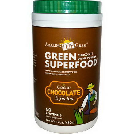 Amazing Grass, Green SuperFood, Chocolate Drink Powder, Cacao Infusion, 17oz (480g)