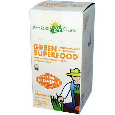 Amazing Grass, Green SuperFood, Orange Dreamsicle Drink Powder, 15 Packets, 8g Each