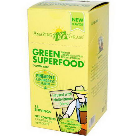 Amazing Grass, Green SuperFood, Pineapple Lemongrass Flavored, 15 Individual Packets, 7g Each