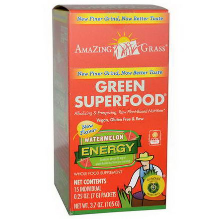 Amazing Grass, Green SuperFood, Watermelon Energy, 15 Individual Packets, 0.25oz (7g) Each