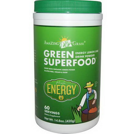 Amazing Grass, Green Superfood, Energy Lemon Lime Drink Powder, 14.8oz (420g)