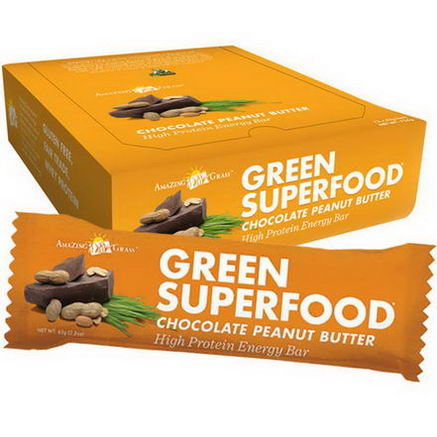 Amazing Grass, Green Superfood, High Protein Energy Bar, Chocolate Peanut Butter, 12 Bars, 2.2oz (63g) Each