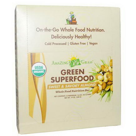 Amazing Grass, Organic, Green Superfood, Whole Food Nutrition Bar, Sweet & Savory Almond, 12 Bars, 1.6oz (45g) Each