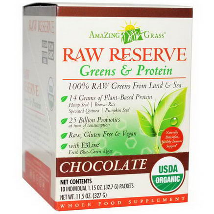 Amazing Grass, Organic, Raw Reserve, Greens & Protein, Chocolate, 10 Packets, 1.15oz (32.7g) Each