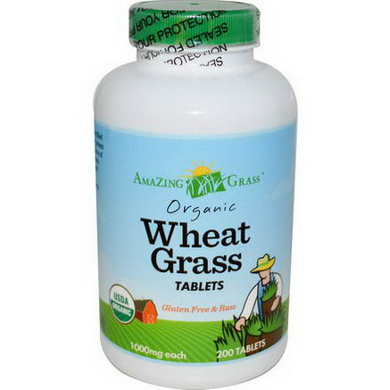 Amazing Grass, Organic Wheat Grass Tablets, 1000mg, 200 Tablets