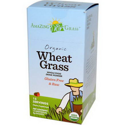 Amazing Grass, Organic Wheat Grass, Whole Food Drink Powder, 15 Individual Packets, 8g Each