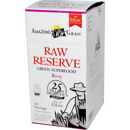 Amazing Grass, Raw Reserve, Green Superfood, Berry, 15 Packets, 8g Each