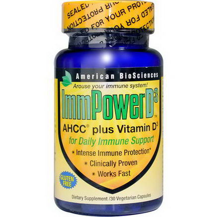 American Biosciences, ImmPower D3, AHCC Plus Vitamin D3, 30 Veggie Caps