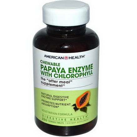 American Health, Papaya Enzyme with Chlorophyll, 250 Chewable Tablets