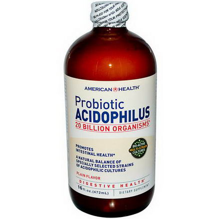 American Health, Probiotic Acidophilus, Plain Flavor, 16 fl oz (472 ml)