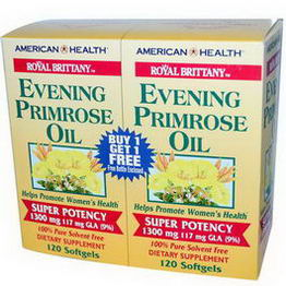 American Health, Royal Brittany, Evening Primrose Oil, 1300mg, 2 Bottles, 120 Softgels Each
