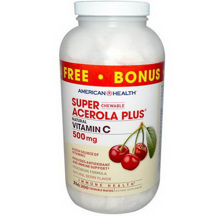 American Health, Super Chewable Acerola Plus, Natural Berry Flavor, 500mg, 300 Chewable Wafers