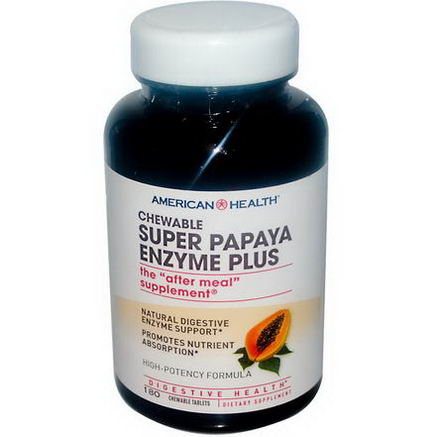 American Health, Super Papaya Enzyme Plus, 180 Chewable Tablets