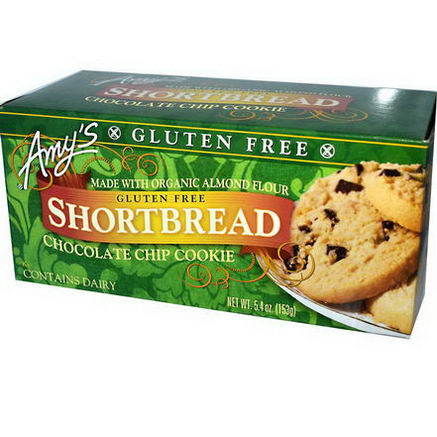 Amy's, Gluten Free Shortbread, Chocolate Chip Cookie, 5.4oz (153g)