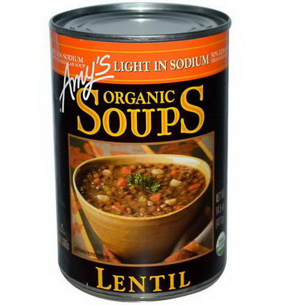 Amy's, Organic Soups, Lentil, Light in Sodium, 14.5oz (411g)