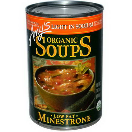 Amy's, Organic Soups, Low Fat Minestrone, Light in Sodium, 14.1oz (400g)