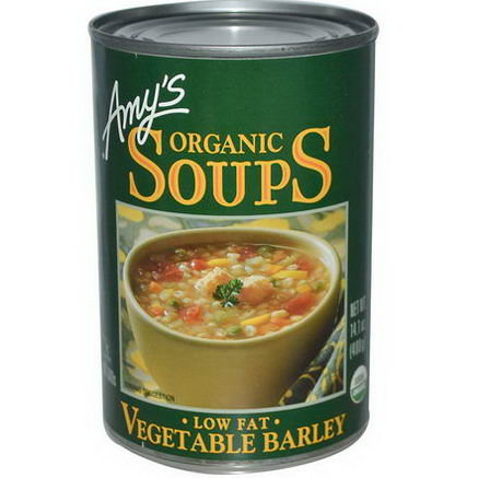 Amy's, Organic Soups, Vegetable Barley, Low Fat, 14.1oz (400g)