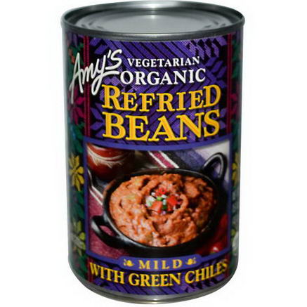 Amy's, Vegetarian Organic Refried Beans with Green Chiles, Mild, 15.4oz (437g)