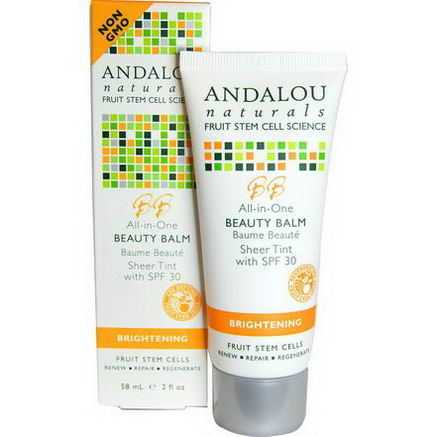 Andalou Naturals, Beauty Balm, Sheer Tint with SPF 30, Brightening, 2 fl oz (58 ml)