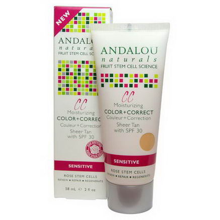 Andalou Naturals, CC Moisturizing Color + Correct, Sheer Tan with SPF 30, Sensitive, 2 fl oz (58 ml)