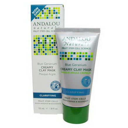 Andalou Naturals, Creamy Clay Mask, Blue Germanium, Clarifying, 1.8 fl oz (53 ml)