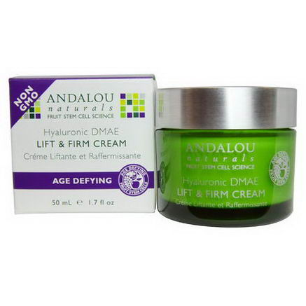 Andalou Naturals, Lift & Firm Cream, Hyaluronic DMAE, 1.7 fl oz (50 ml)