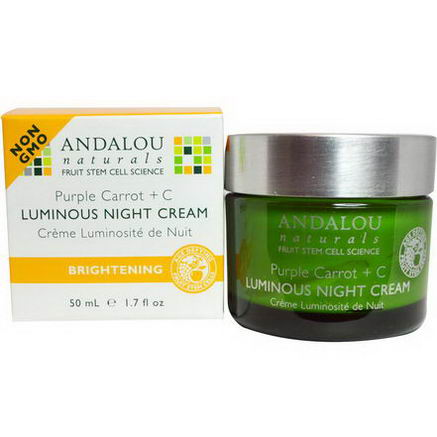 Andalou Naturals, Luminous Night Cream, Purple Carrot + C, 1.7 fl oz (50 ml)