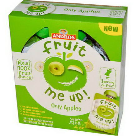 Andros Fruit Me Up, Only Apples, 4 Pouches, 4oz (113g)
