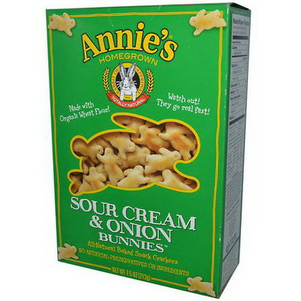 Annie's Homegrown, All-Natural Baked Snack Crackers, Sour Cream & Onion Bunnies, 7.5oz (213g)