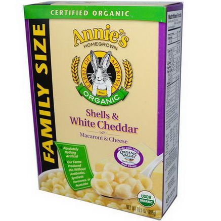 Annie's Homegrown, Certified Organic Macaroni & Cheese, Shells & White Cheddar, Family Size, 10.5oz (298g)