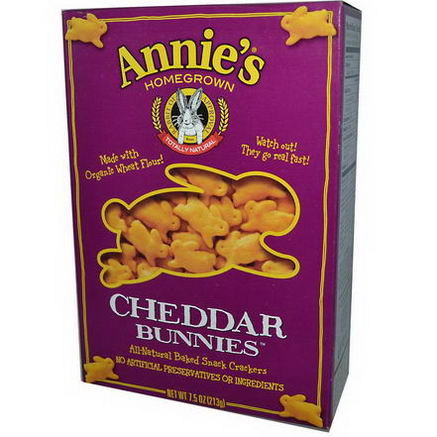 Annie's Homegrown, Cheddar Bunnies, Baked Crackers, 7.5oz (213g)