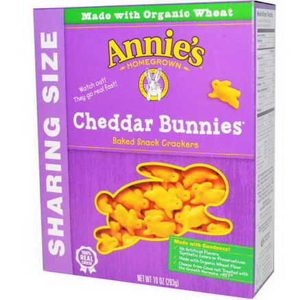 Annie's Homegrown, Cheddar Bunnies, Baked Snack Crackers, 10oz (283g)