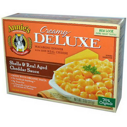 Annie's Homegrown, Creamy Deluxe Macaroni Dinner, Shells & Real Aged Cheddar Sauce, 11oz (312g)