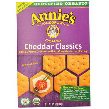 Annie's Homegrown, Organic Baked Crackers, Cheddar Classics, 6.5oz (184g)