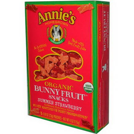 Annie's Homegrown, Organic Bunny Fruit Snacks, Summer Strawberry, 4oz (115g)