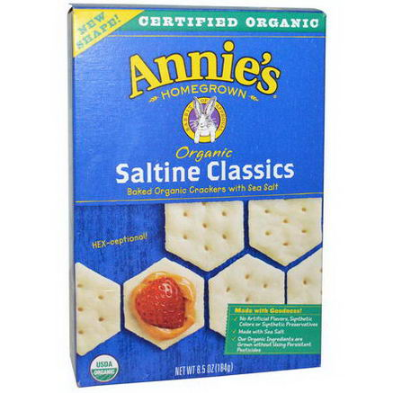 Annie's Homegrown, Organic Saltine Classics Baked Organic Crackers with Sea Salt, 6.5oz (184g)