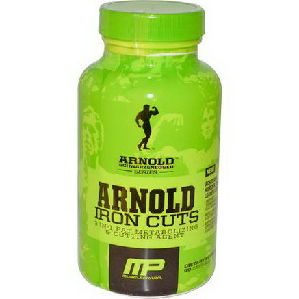 Arnold, Iron Cuts, 3-in-1 Fat Metabolizing & Cutting Agent, 90 Capsules
