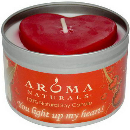 Aroma Naturals, 100% Natural Soy Candle, You Light Up My Heart, 6.5oz