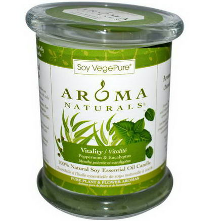 Aroma Naturals, 100% Natural Soy Essential Oil Candle, Vitality, Peppermint & Eucalyptus, 8.8oz (260g)