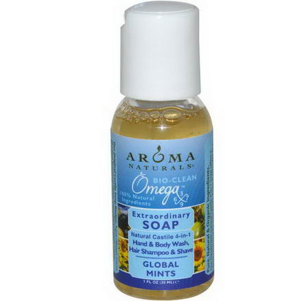 Aroma Naturals, Extraordinary Soap, Hand & Body Wash, Hair Shampoo & Shave, Global Mints, 1 fl oz (30 ml)