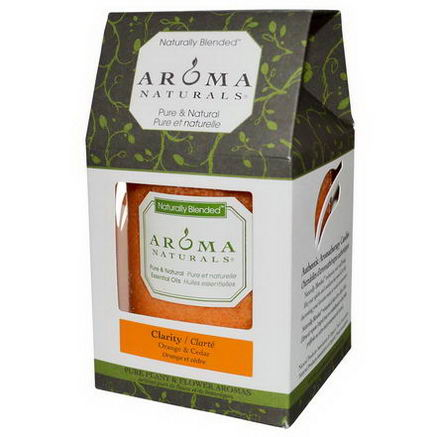 Aroma Naturals, Naturally Blended, Pillar Candle, Clarity, Orange & Cedar, 3