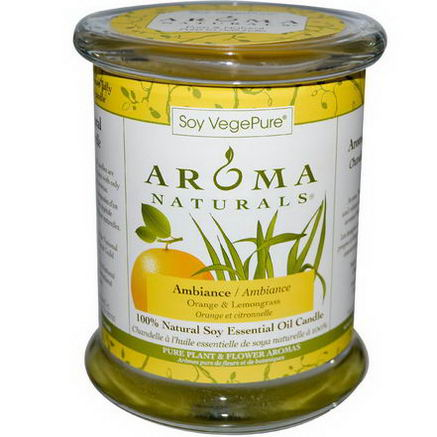 Aroma Naturals, Soy VegePure, 100% Natural Soy Essential Oil Candle, Ambiance, Orange & Lemongrass, 8.8oz (260g)