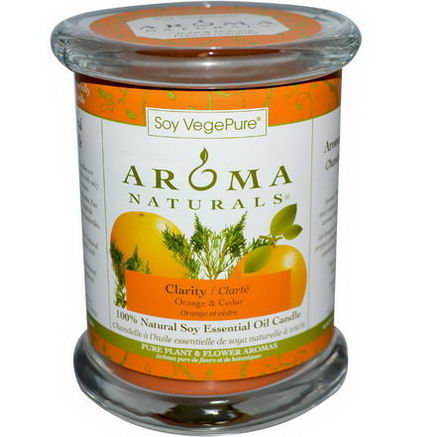 Aroma Naturals, Soy VegePure, 100% Natural Soy Essential Oil Candle, Clarity, Orange & Cedar, 8.8oz (260g)
