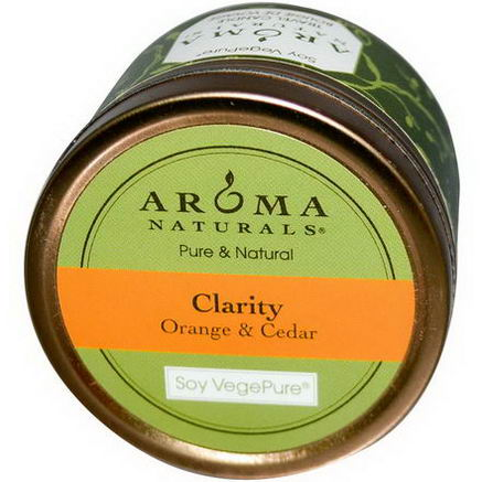 Aroma Naturals, Soy VegePure, Clarity, Travel Candle, Orange & Cedar, 2.8oz (79.38g)