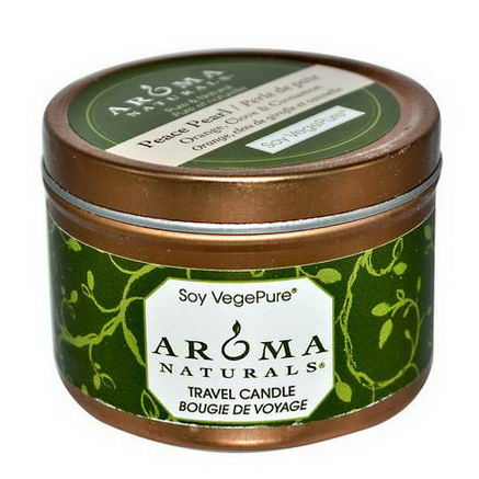 Aroma Naturals, Soy VegePure, Travel Candle, Peace Pearl, Orange, Clove & Cinnamon, 2.8oz (79.38g)