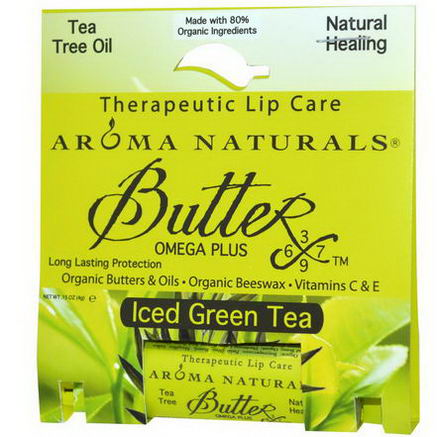 Aroma Naturals, Therapeutic Lip Care, Ices Green Tea, 15oz (4g)
