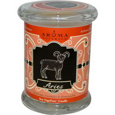 Aroma Naturals, Zodiac Soy VegePure Candle, Aries, 6oz (180g)