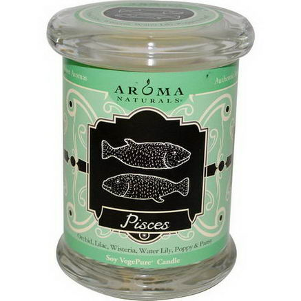 Aroma Naturals, Zodiac, Soy VegePure Candle, Pisces, 6oz (180g)