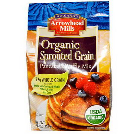 Arrowhead Mills, Organic Sprouted Grain Pancake & Waffle Mix, 26oz (737g)
