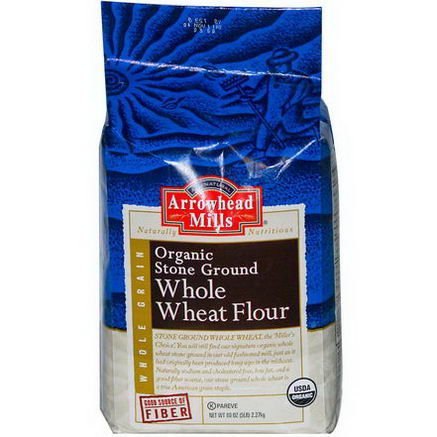 Arrowhead Mills, Whole Grain, Organic Stone Ground Whole Wheat Flour, 80oz (5 lb) 2.27 kg